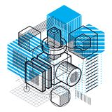 Abstract 3d shapes composition, vector isometric background. Com. Position of cubes, hexagons, squares, rectangles and different abstract elements Stock Image
