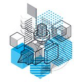 Abstract 3d shapes composition, vector isometric background. Com. Position of cubes, hexagons, squares, rectangles and different abstract elements Stock Photo