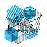 Abstract 3d shapes composition, vector isometric background. Com. Position of cubes, hexagons, squares, rectangles and different abstract elements vector illustration