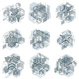 Abstract 3d shapes compositions, vector isometric backgrounds. C. Ompositions of cubes, hexagons, squares, rectangles and different abstract elements. Vector vector illustration