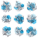 Abstract 3d shapes compositions, vector isometric backgrounds. C Stock Photography