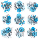 Abstract 3d shapes compositions, vector isometric backgrounds. C Royalty Free Stock Photos