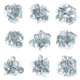 Abstract 3d shapes compositions, vector isometric backgrounds. C. Ompositions of cubes, hexagons, squares, rectangles and different abstract elements. Vector Royalty Free Stock Photo