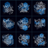 Abstract 3d shapes compositions, vector isometric backgrounds. C. Ompositions of cubes, hexagons, squares, rectangles and different abstract elements. Vector Royalty Free Stock Photos
