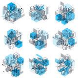 Abstract 3d shapes compositions, vector isometric backgrounds. C. Ompositions of cubes, hexagons, squares, rectangles and different abstract elements. Vector stock illustration