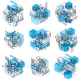 Abstract 3d shapes compositions, vector isometric backgrounds. C. Ompositions of cubes, hexagons, squares, rectangles and different abstract elements. Vector Stock Photo