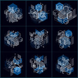 Abstract 3d shapes compositions, vector isometric backgrounds. C Stock Images
