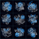Abstract 3d shapes compositions, vector isometric backgrounds. C Royalty Free Stock Image