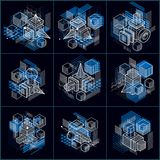 Abstract 3d shapes compositions, vector isometric backgrounds. C. Ompositions of cubes, hexagons, squares, rectangles and different abstract elements. Vector royalty free illustration
