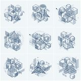 Abstract 3d shapes compositions, vector isometric backgrounds. C Royalty Free Stock Photo