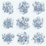 Abstract 3d shapes compositions, vector isometric backgrounds. C. Ompositions of cubes, hexagons, squares, rectangles and different abstract elements. Vector Stock Photography