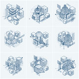 Abstract 3d shapes compositions, vector isometric backgrounds. C. Ompositions of cubes, hexagons, squares, rectangles and different abstract elements. Vector Royalty Free Stock Images