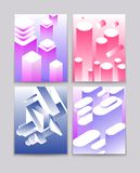Abstract 3d shapes. Cool gradient isometric shapes technologic futuristic backgrounds. Vector modern book covers. Illustration of color geometric isometric stock illustration