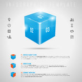 Abstract 3D shiny cube and gray icons - infographi Stock Images