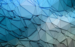 Abstract 3D Simple geometric  nature tone origami Blue sequins  background Stock Photos