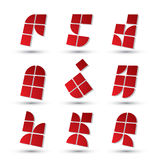 Abstract 3d simple symbols set, geometric vector abstract icons Stock Photos
