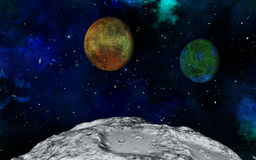 Abstract 3D space scene. 3D space scene with fictional moon surface and planets Royalty Free Stock Images