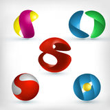 Abstract 3d sphere icons set. Abstract 3d curled and wavy sphere shape icons set Royalty Free Stock Photo