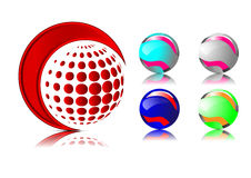 Abstract 3D sphere logos carving set. Logo spheres white background. Vector Royalty Free Stock Photos