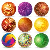 Abstract 3d Sphere Logos. Collection of Abstract Spheres & Globes Isolated on White. Illustration for Your Design Stock Photos