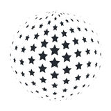 Abstract 3D Sphere with 5 point Stars. Vector illustration. Abstract 3D Sphere with 5 point Stars. Vector illustration royalty free illustration