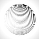 Abstract 3D Sphere with Stripes, lines. Vector illustration. Abstract 3D Sphere with Stripes, lines. Vector illustration Royalty Free Stock Photos