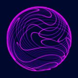 Abstract 3d sphere. Sphere with twist lines. Glowing lines twisting Logo design. Outer space object. Futuristic technology style. stock illustration