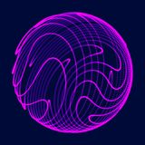 Abstract 3d sphere. Sphere with twist lines. Glowing lines twisting Logo design. Outer space object. Futuristic technology style. royalty free illustration