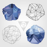Abstract 3D sphere. Vector set. 3D sphere set. Abstract geometric object. Vector concept illustration Royalty Free Stock Images