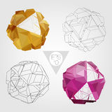 Abstract 3D sphere. Vector set. 3D sphere set. Abstract geometric object. Vector concept illustration Royalty Free Stock Photos
