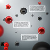 Abstract 3d spheres infographics. Abstract 3d spheres atom bubbles infographics design elements with data labels vector illustration stock illustration