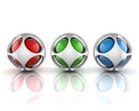 3 Abstract 3d spheres. On white vector illustration