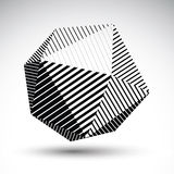 Abstract 3D spherical vector contrast pattern, art orb striped,. Graffiti monochrome sphere  on white background Royalty Free Stock Photography