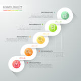 Abstract 3d spiral infographic template 5 steps, Royalty Free Stock Images