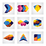 Abstract 3d squares, arrows & cube element design vector icons. This graphic shows different glowing shapes in various colors like yellow, orange, red, blue vector illustration