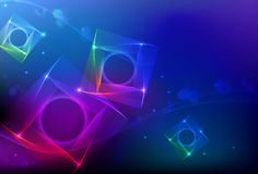 Abstract 3D squares rainbow background. Sparkling colorful background with abstract squares in motion.  Info graphic cover, template, banner design Stock Images