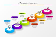 Abstract 3d stairs infographic or timeline template. Vector. Illustration Vector Illustration