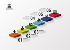 Abstract 3d stairs infographics or timeline template. Vector illustration Stock Image