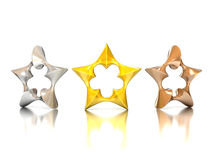 Abstract 3d stars - gold, silver, bronze. 3d illustration l on white royalty free illustration