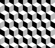 Abstract 3d striped cubes geometric seamless pattern in black and white, vector Royalty Free Stock Images