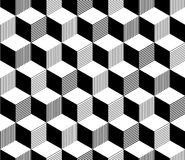Abstract 3d striped cubes geometric seamless pattern in black and white, vector. Background stock illustration