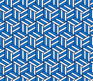 Abstract 3d striped cubes geometric seamless pattern in blue and white, vector. Background Royalty Free Stock Photo