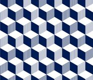 Abstract 3d striped cubes geometric seamless pattern in blue and white, vector. Background stock illustration