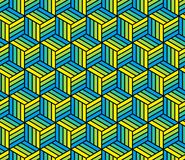 Abstract 3d striped cubes geometric seamless pattern in blue and yellow, vector. Background Royalty Free Stock Image