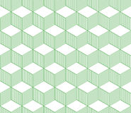 Abstract 3d striped cubes geometric seamless pattern in green and white, vector. Background Royalty Free Stock Photo
