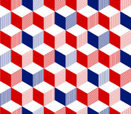 Abstract 3d striped cubes geometric seamless pattern in red blue and white, vector. Background stock illustration