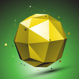 Abstract 3D structure, green vector network backdrop, yellow sph. Erical figure with lines mesh placed over shaded background Stock Images