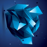 Abstract 3D structure polygonal network object, bright deformed. Figure Royalty Free Stock Photography