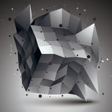 Abstract 3D structure polygonal network object, grayscale deform. Ed figure vector illustration