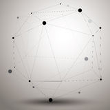 Abstract 3D structure polygonal network object, grayscale deform Stock Image